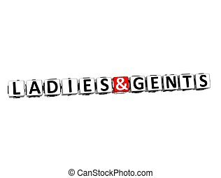 3D Word Ladies and Gents on white background