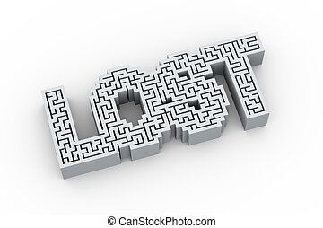 3d word lost in labyrinth maze puzzle design