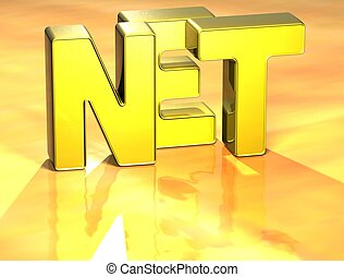 3D Word Net on yellow background