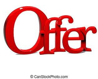 3D Word Offer on white background