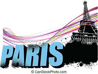 3D word Paris on the Eiffel tower grunge background. Vector...