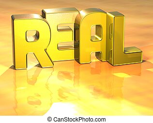 3D Word Real on yellow background