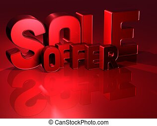 3D Word Sale Offer on red background
