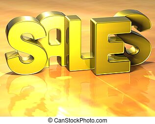 3D Word Sales on yellow background