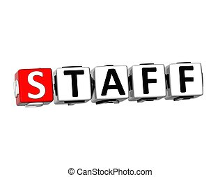 3D Word Staff on white background