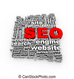 3d Word tags wordcloud of seo search engine optimization