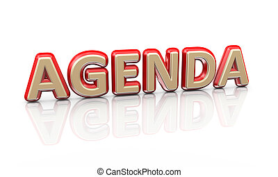 3d word text agenda - 3d illustration of word text agenda on...