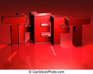 3D Word Theft on red background