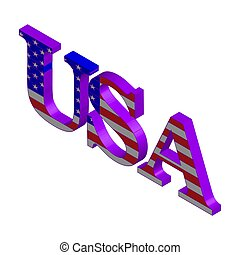 3D Word USA with american flag