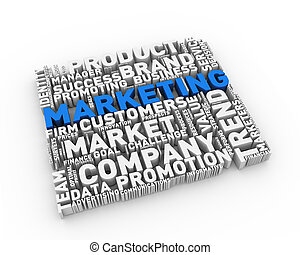 3d wordcloud tag of marketing concept