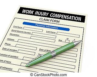3d work injury compensation claim form - 3d illustration of...
