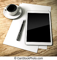 3d work place setup with digital tablet and documents