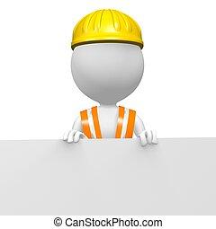 3D worker behind white wall - 3D workmen with bricks