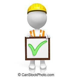 3D worker - checkmark concept