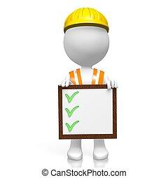 3D worker - checkmarks concept - 3D cartoon character/ ...