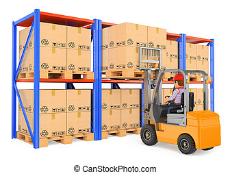 3D Worker driving a forklift  in the warehouse