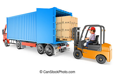 3D Worker driving a forklift loading a container truck