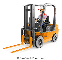 3D Worker driving a forklift unloaded