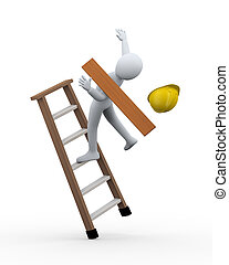 3d illustration of man construction worker dis balance and fall from ladder. 3d rendering of human people character incident
