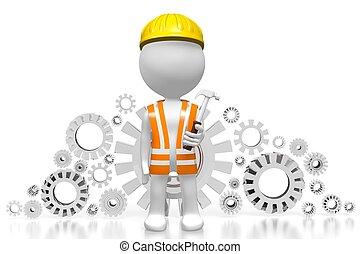 3D worker - gears concept