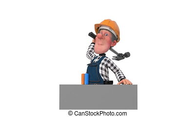 3d worker hammers a nail with a hammer - funny engineer...