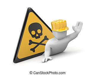 3d worker in danger - Image contain clipping path
