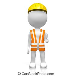 3D worker - OK sign - 3D cartoon character on white ...