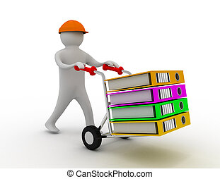 3d worker pushing a hand truck with files