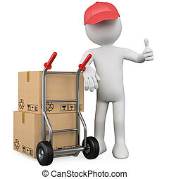 3D worker with a package and thumb up. Rendered at high resolution on a white background with diffuse shadows.
