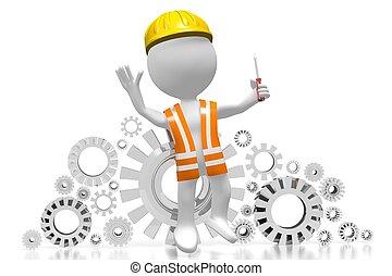 3D worker with a screwdriver - 3D cartoon character worker...