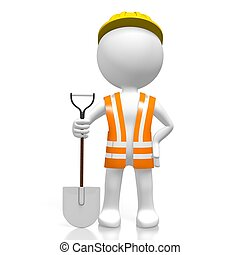 3D worker with a shovel
