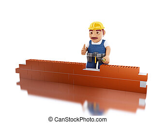 3d Worker with a trowel building brick wall