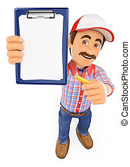 3D Worker with blank clipboard and a pencil