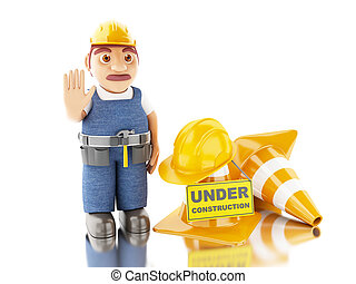 3d Worker with helmet, cones and under construction sign