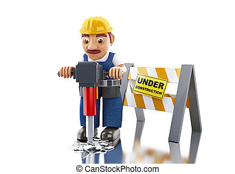3d Worker with jackhammer and under construction sign.