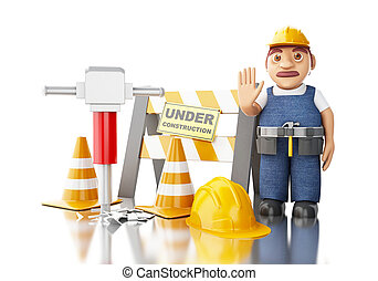 3d Worker with jackhammer, cones and under construction sign
