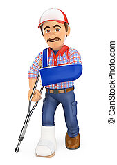 3D Worker with plaster leg and arm in sling. Work accident -...