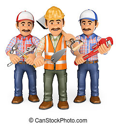 3D Workers. Team of work