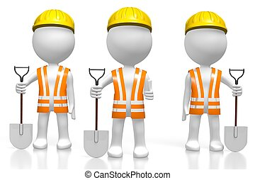3D workers with shovels - 3D cartoon character - ...