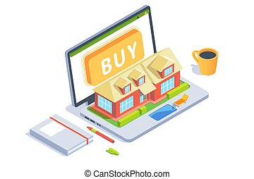 3d workspace with tool laptop with layout of house with swimming pool. Concept workplace designer, business service for retailing. Low poly. Vector illustration.