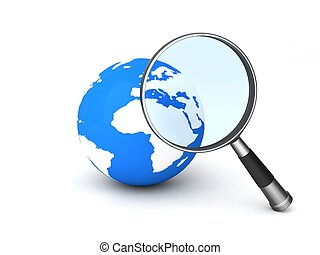 world and magnifier - 3d world and magnifier against white...