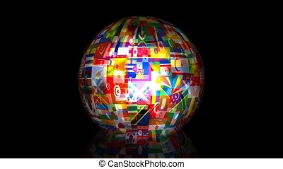 3d World Flag Globe Animation