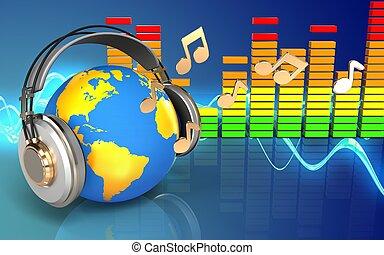 3d world in headphones notes - 3d illustration of world in...