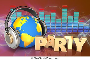 3d world in headphones party sign - 3d illustration of world...
