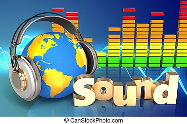 3d world in headphones 'sound' sign - 3d illustration of...