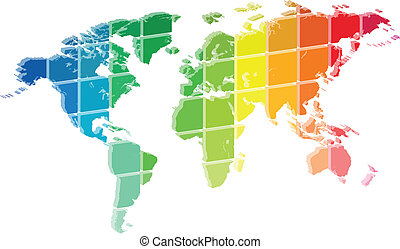 3D World Map Color Palette Abstract