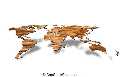3d World map - 3d image of a wooden world map floating over...