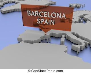 Map valencian community spain 3dillustration Map of