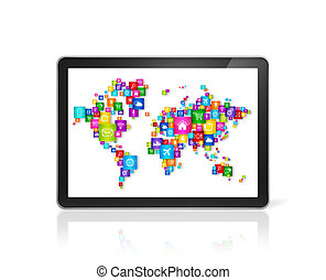 World map made of icons on digital Tablet PC. Cloud computing concept