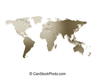 3d world map metal texture isolated on white